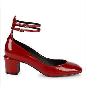 Free People Lana red block heels patent leather 7